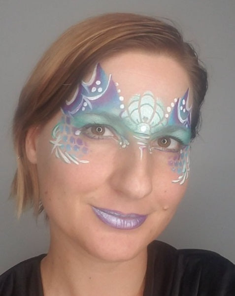 TAP 102 Face Painting Stencil - Mermaid Crown Clam Shell - Jest Paint Store