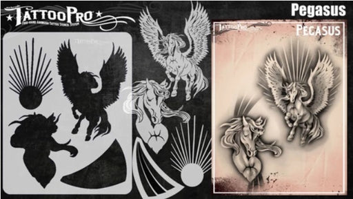 Tattoo Pro | Air Brush Body Painting Stencil - Pegasus - Jest Paint Store