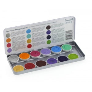 Superstar Face Paint | Aqua Face and Body Painting Palette - 12 Color Syllie Faces Palette by Syl Verberk