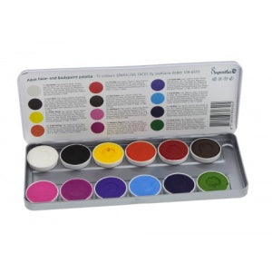 Superstar Face Paint | Aqua Face and Body Painting Palette - 12 Color Sparkling Faces Palette by Svetlana Keller