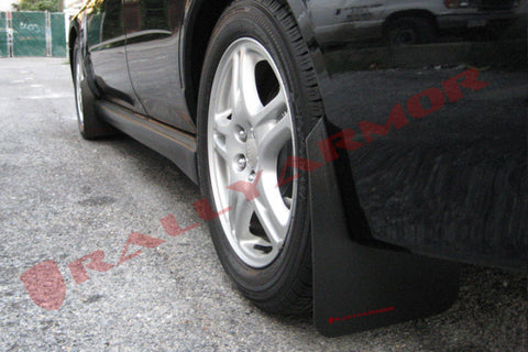 Rally Armor 02-07 Subaru WRX/STI/RS/2.5i (wagons req mod) Basic Black Mud Flap w/ Red Logo