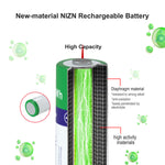 8PCS AA 1.6V 2600mWh NIZN Rechargeable Battery with 1 USB Charger