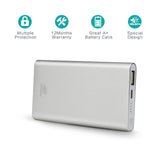 5000mah Silver Ultra-Slim power bank for cellphone