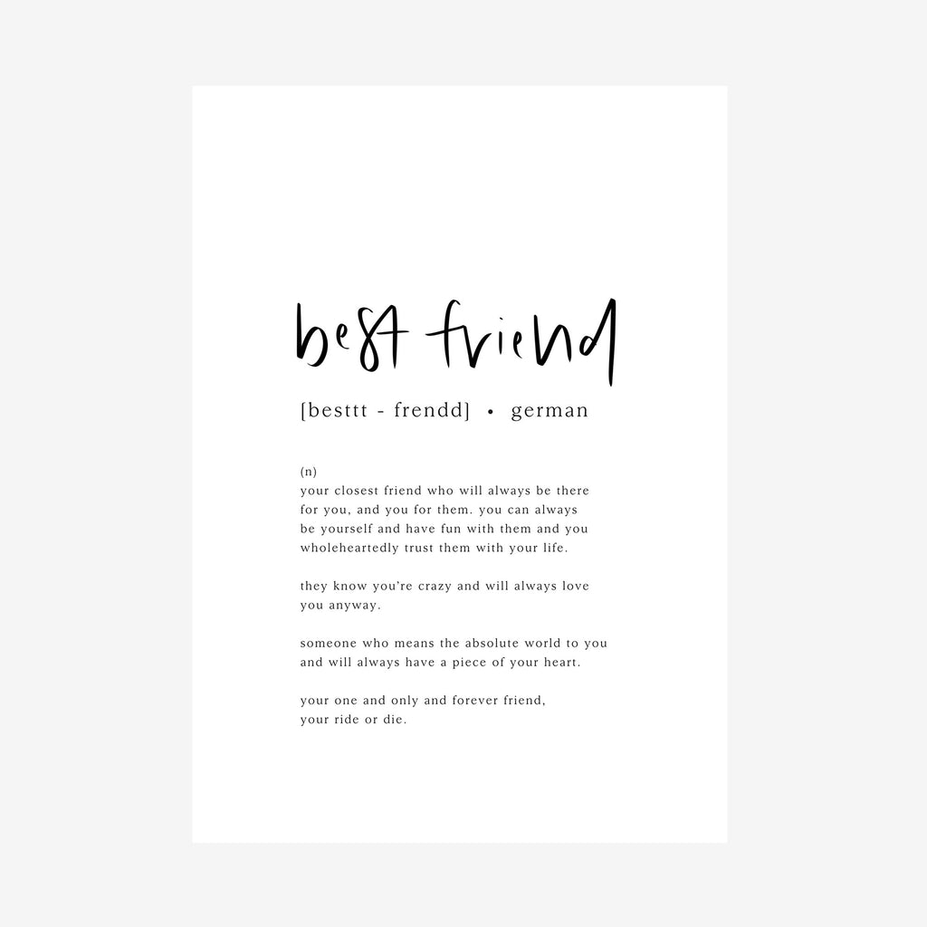 best friend [dictionary print]