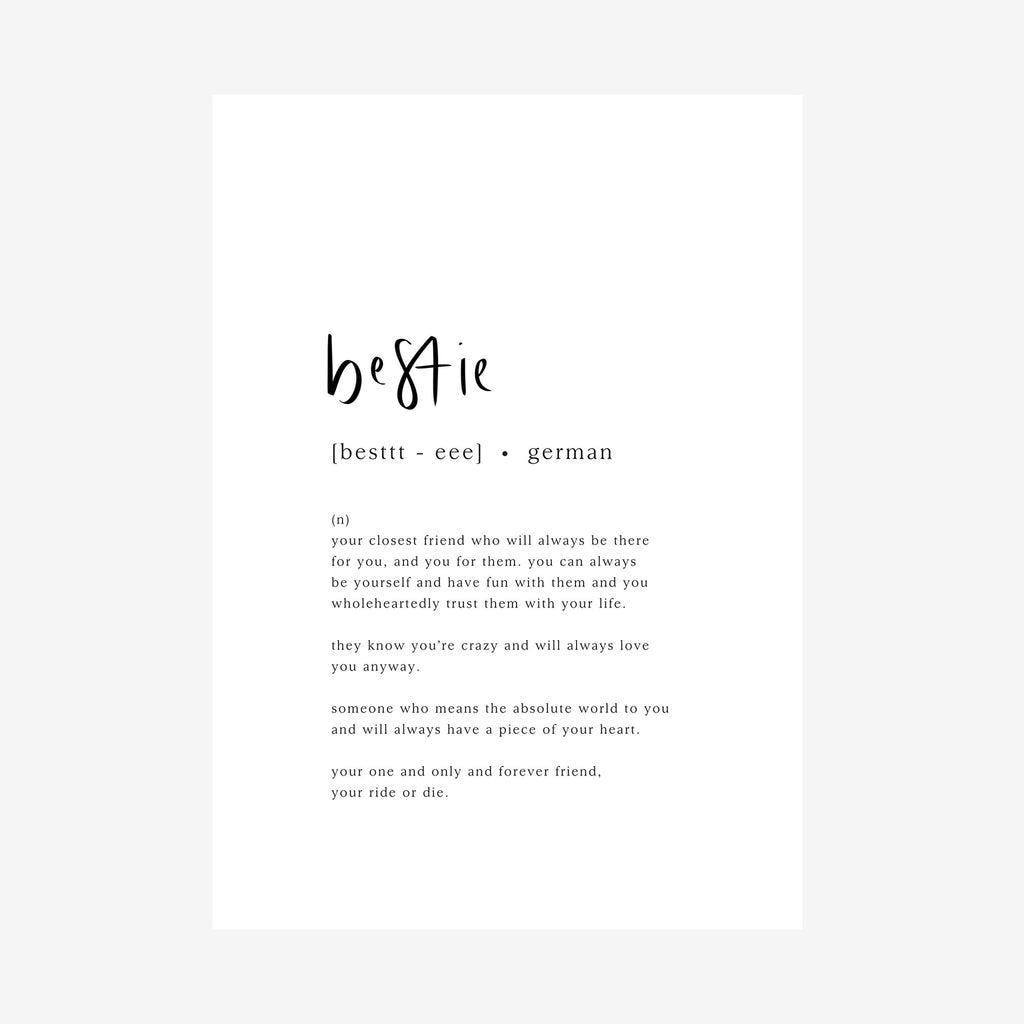 bestie [dictionary print]