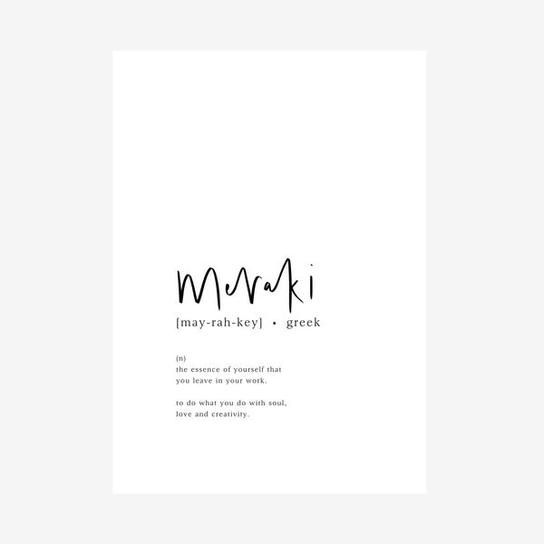 meraki [dictionary print]