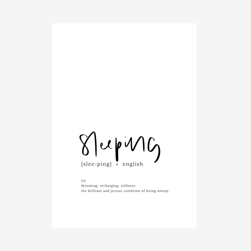 sleeping [dictionary print]