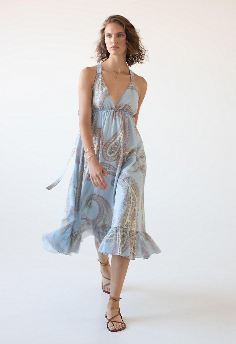 Amalfi Sundress in Blue Paisley