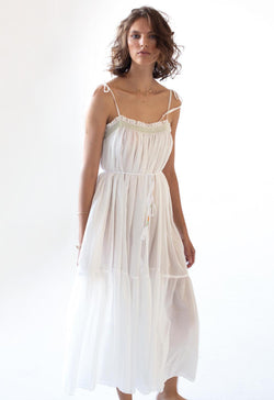 Anacapri Smocked Gown in Organic Cotton