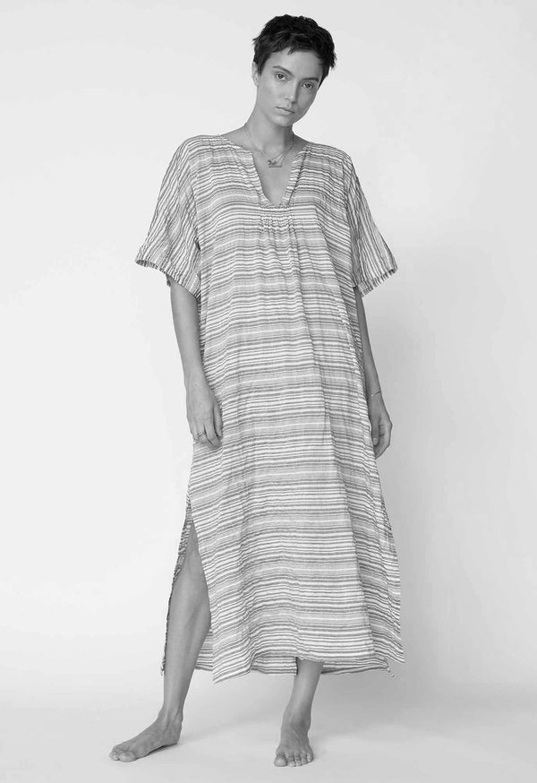 Belek Kaftan in Seersucker Patterns