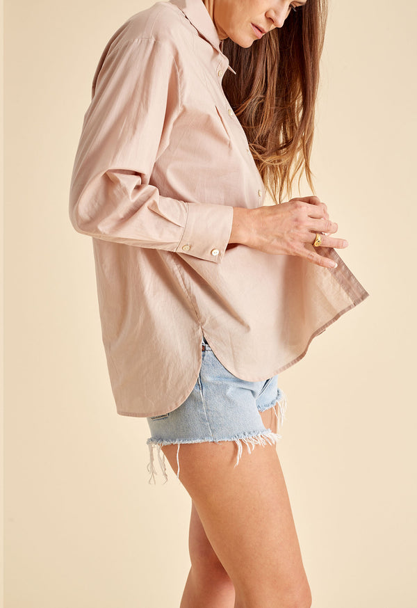 Boyfriend Shirt in Buff Poplin