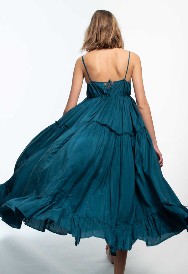 Cariño Dress in Deep Ocean Silk