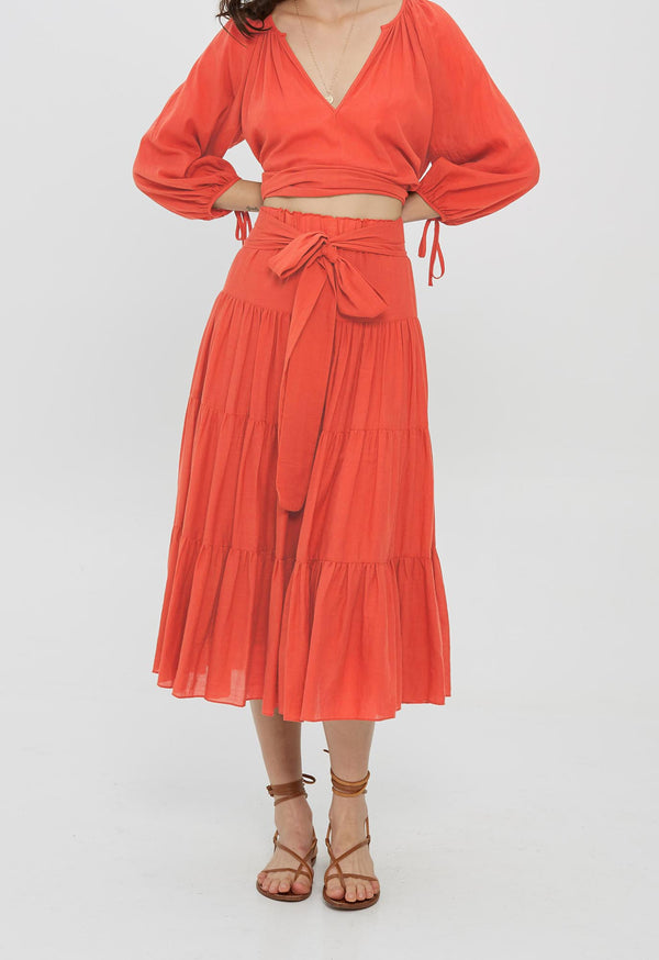 Demeter Skirt in Coral Organic Cotton