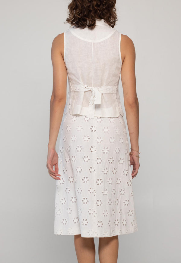 Domingo Skirt in Linen Eyelet