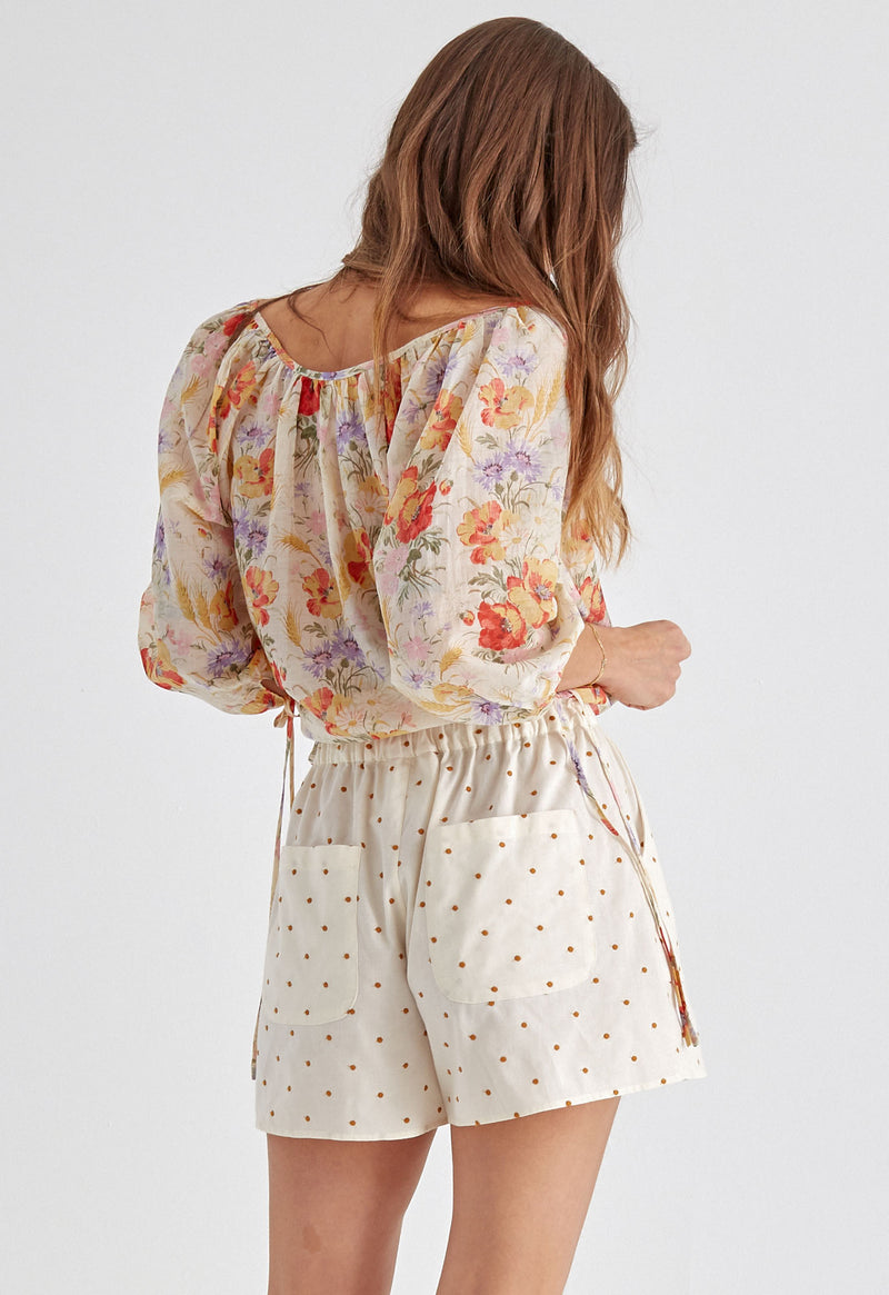 Capucine Blouse in Sand Tuscan Floral