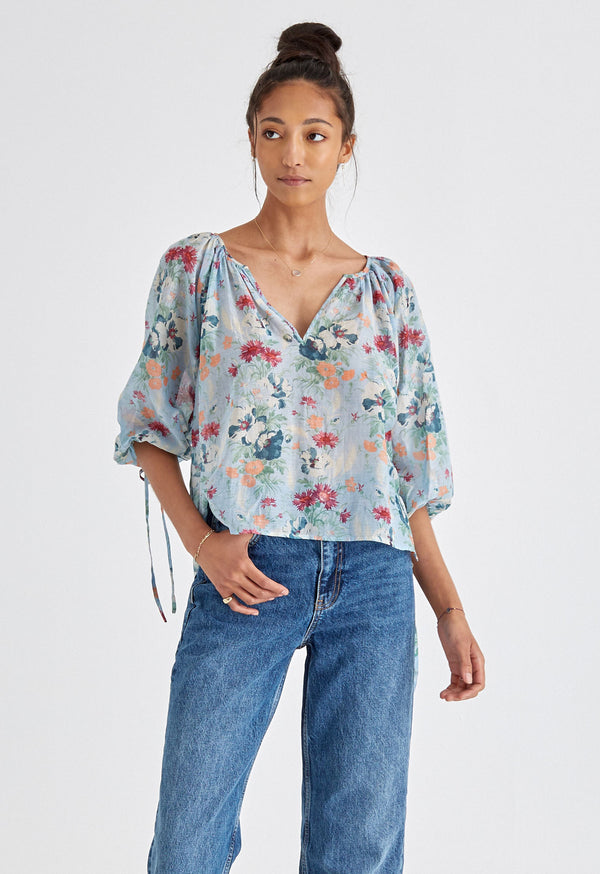 Capucine Blouse in Sky Tuscan Floral