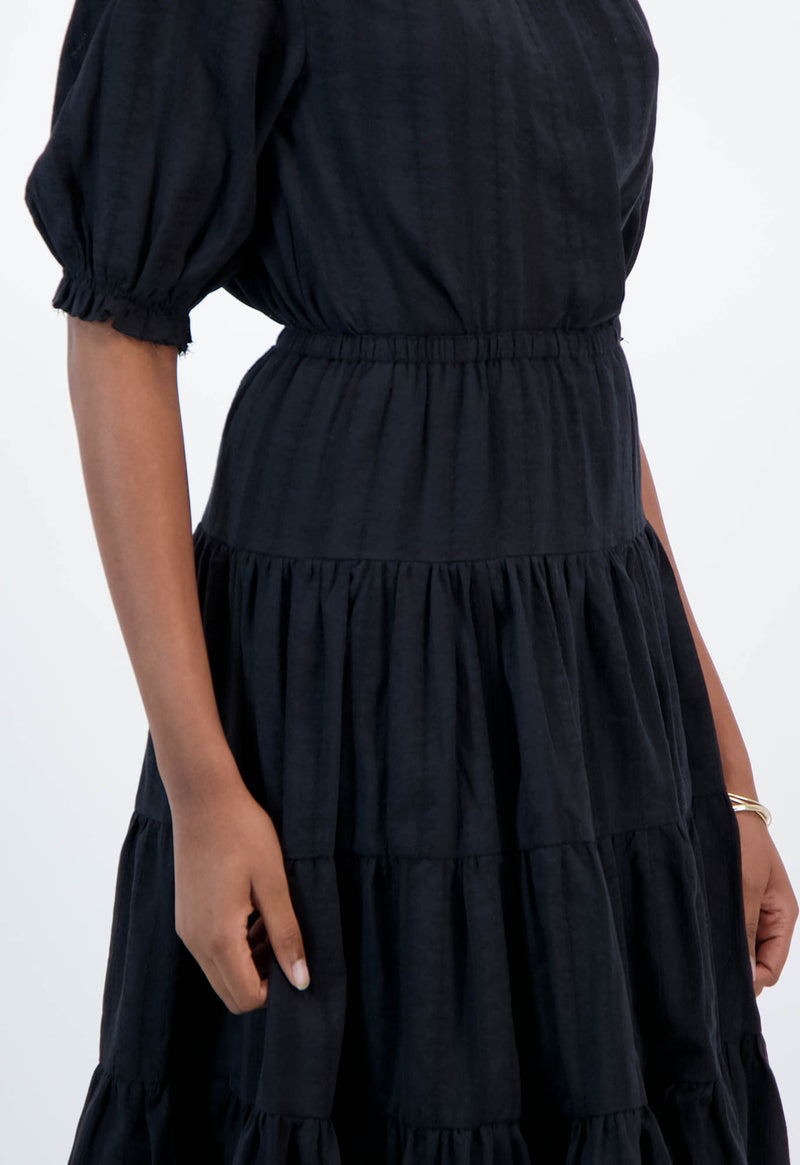 Falco Skirt in Black Jacquard Stripe