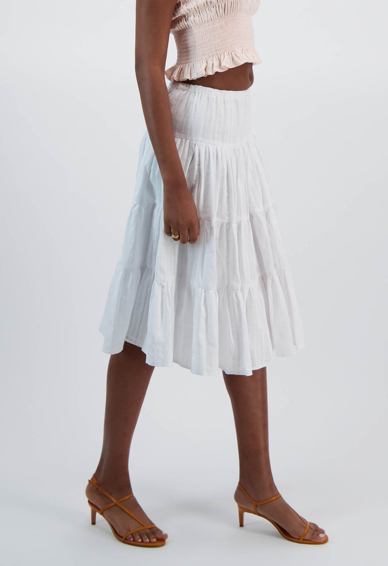 Falco Skirt in Cotton Jacquard Stripe