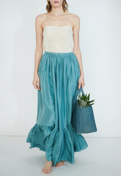 Flores Maxi Skirt in Silk
