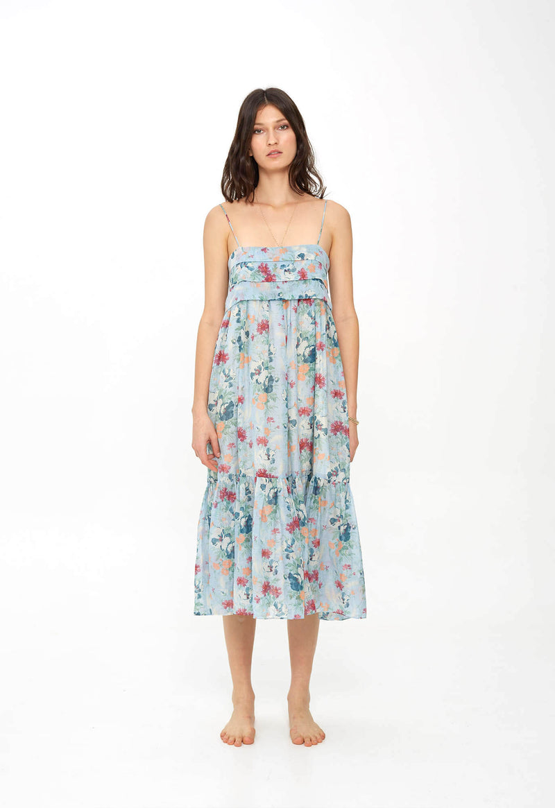 Iliana Pleated Sundress in Sky Tuscan Floral
