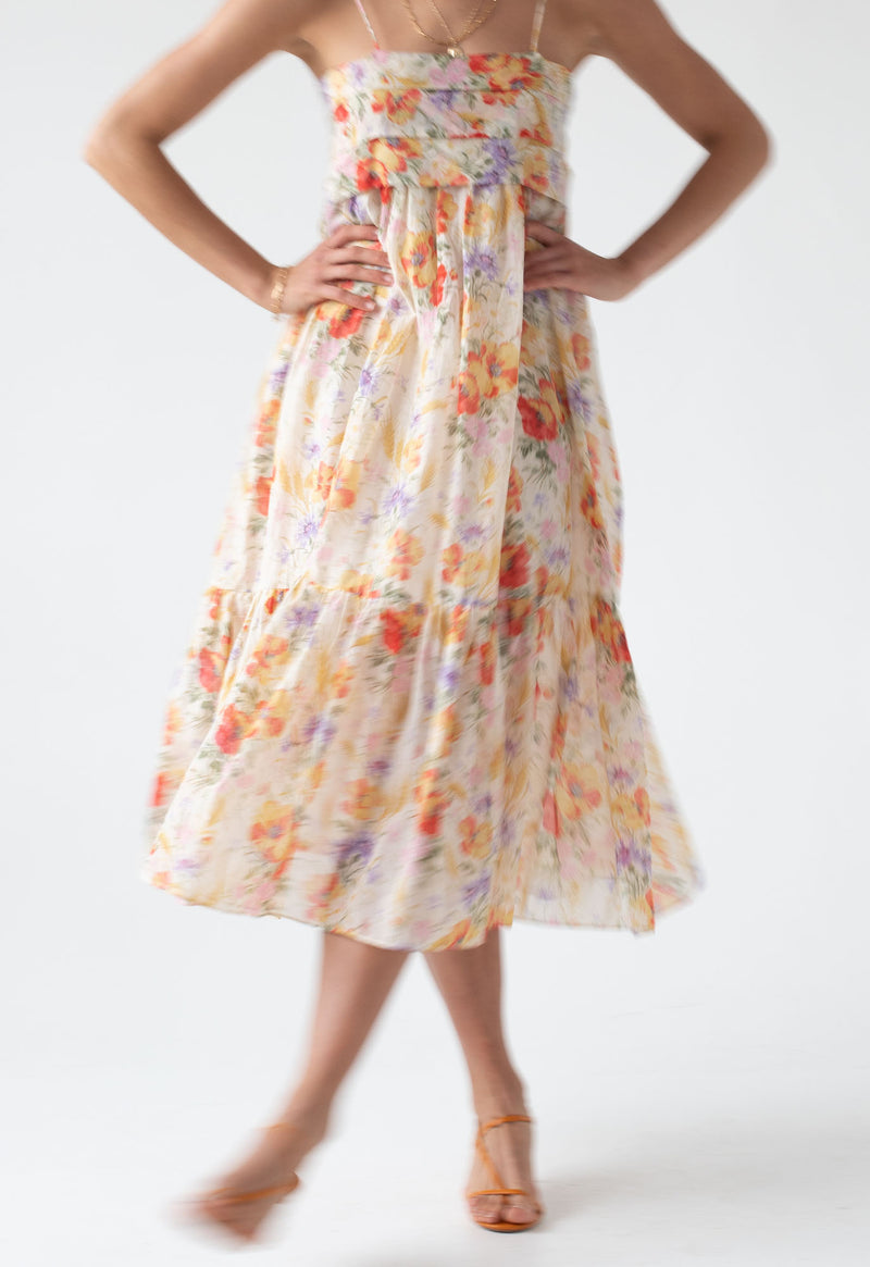 Iliana Pleated Sundress in Sand Tuscan Floral