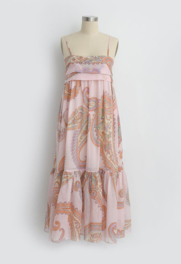Iliana Pleated Sundress in Pink Paisley