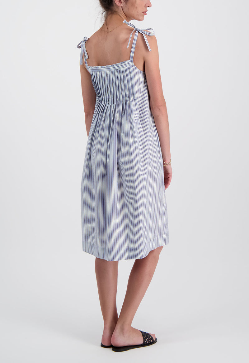 Kapari Dress in Poplin Stripe