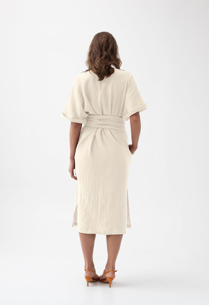 Kichi Wrap Dress in Creme