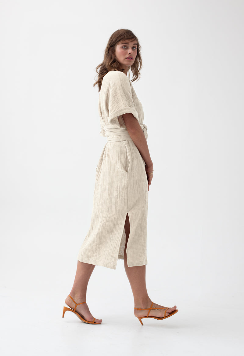 Kichi Wrap Dress in Crème
