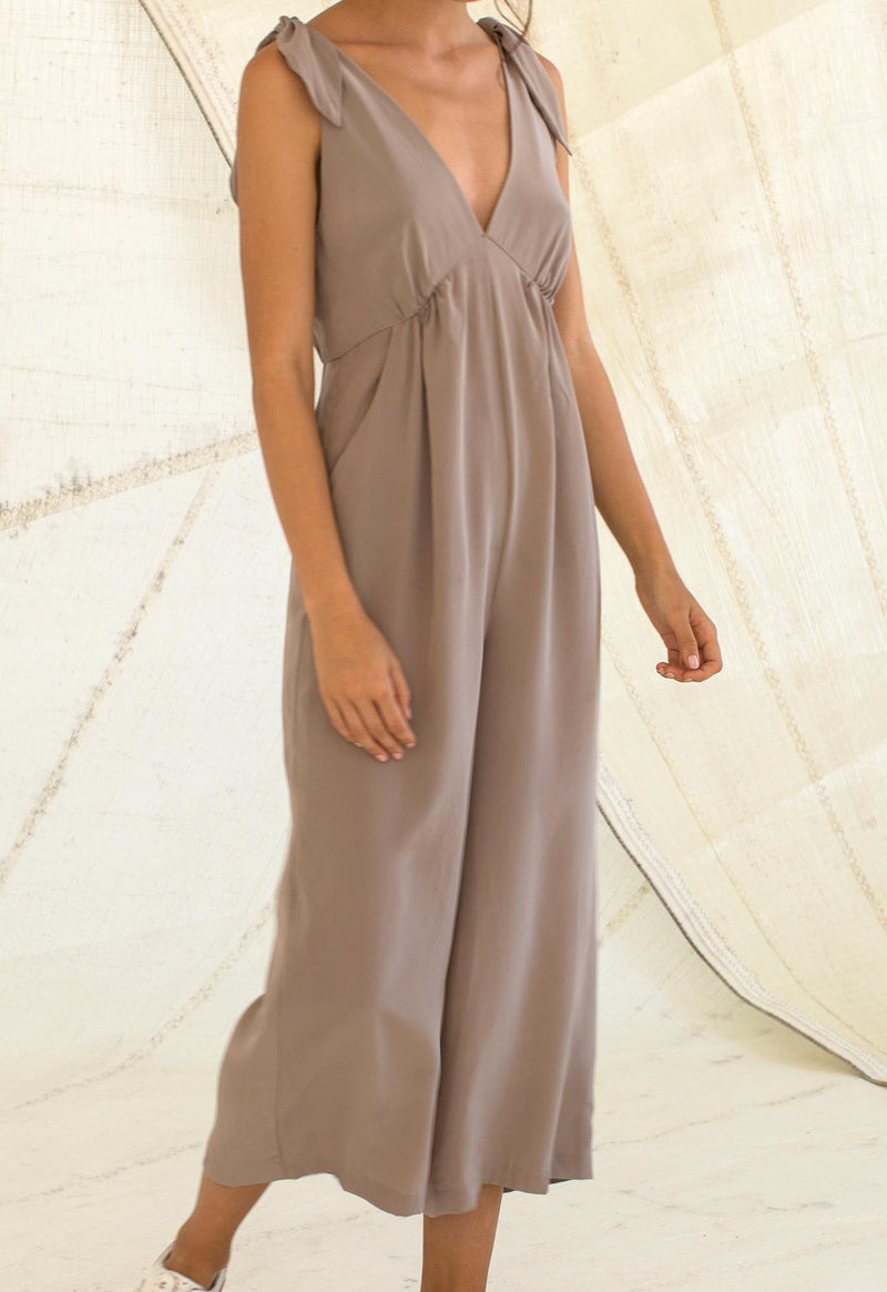 Lookout Jumpsuit in Taupe Silk