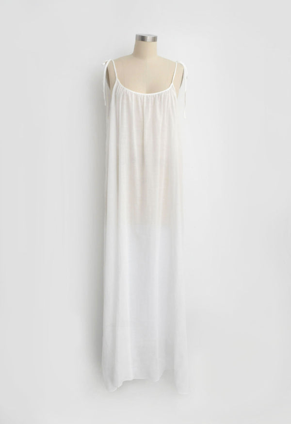 Maxi Slip in White Lace Jacquard