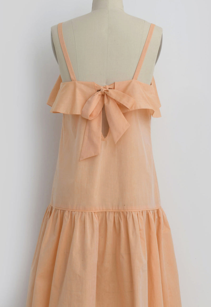 Mona Ruffle Dress in Cantaloupe Poplin