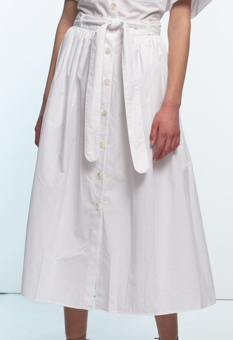 Pamlico Shirtdress in White Poplin