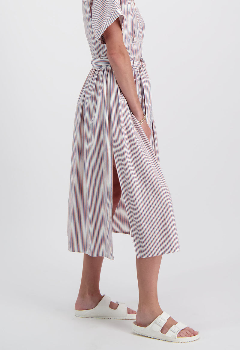 Pamlico Shirtdress in Poplin Stripe