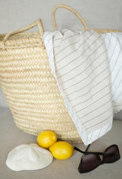 Pareo Wrap Blanket in Neutral Stripes
