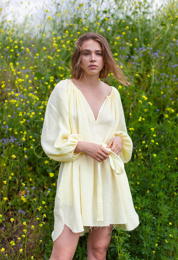 Peasant Tunic in Lemon Twist Soft Gauze
