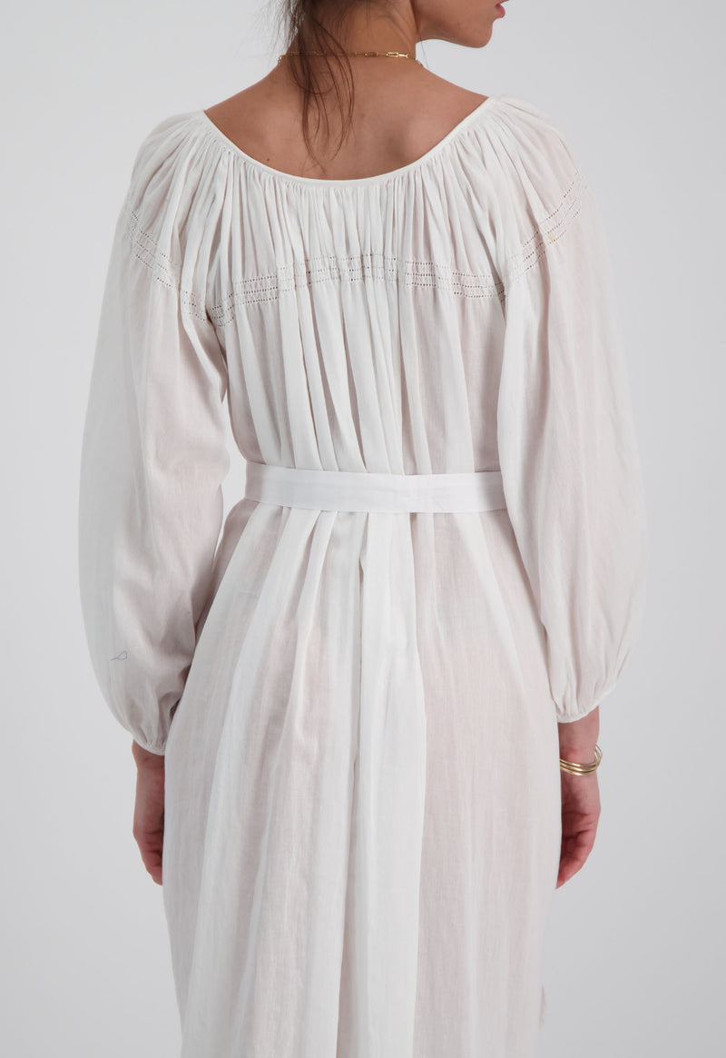 Peasant Tunic Midi with Hemstitch Detail
