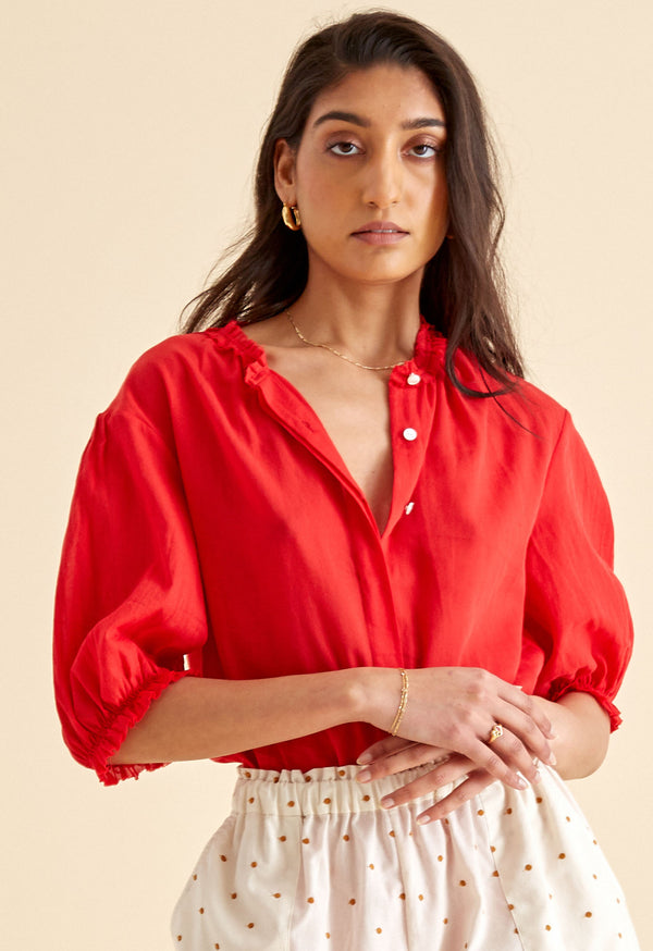 Pico Blouse in Cadmium Red