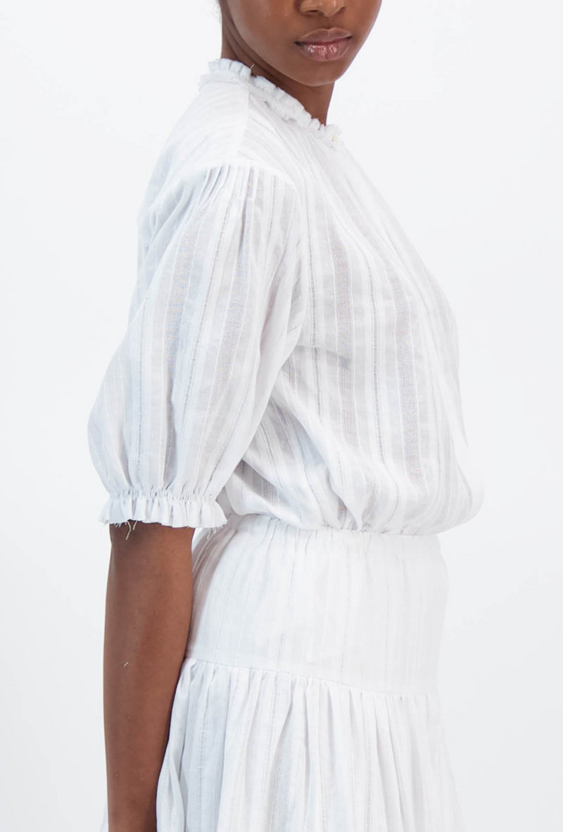 Pico Blouse in Jacquard Stripe