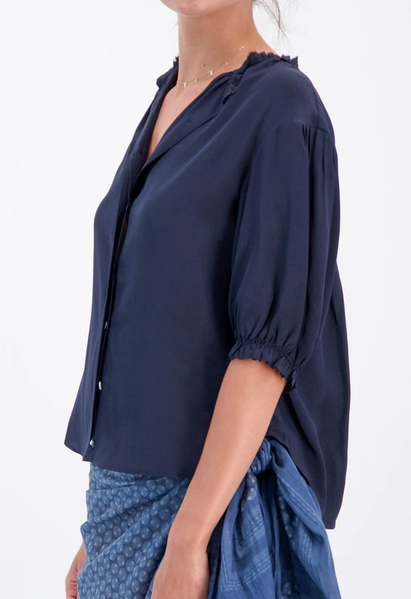 Pico Puff Sleeve Blouse in Silk