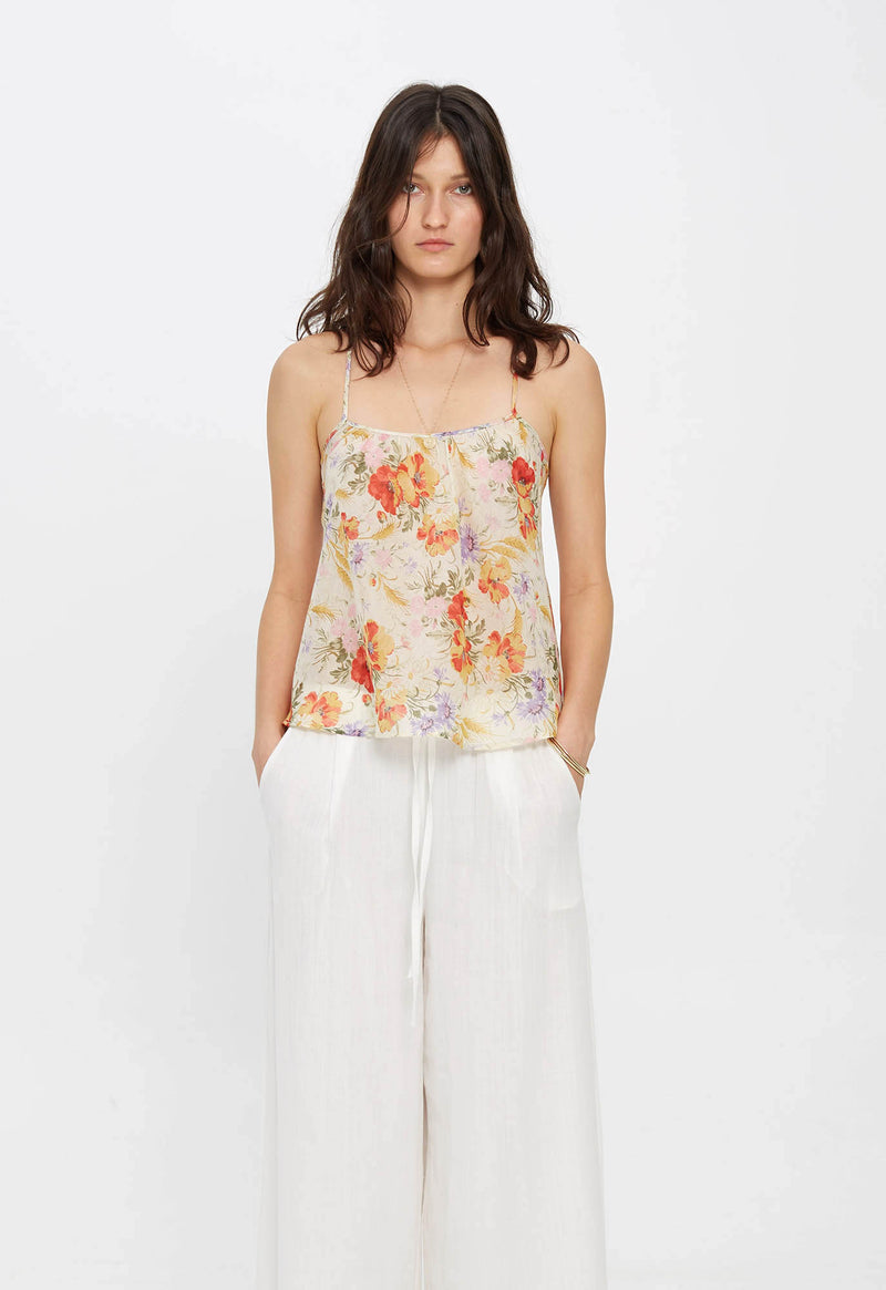 Scoop Tank in Sand Tuscan Floral