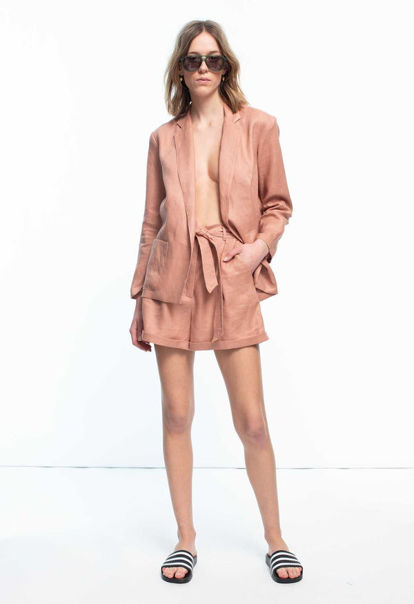 Tellin Short in Powder Pink Linen