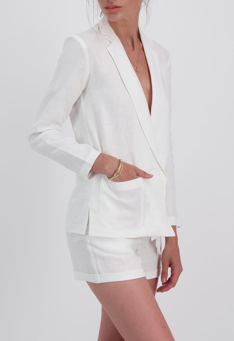 Saint-Denis Blazer in White Linen