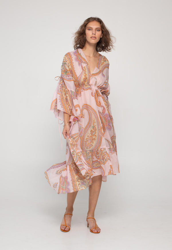Sunrise Kaftan Dress in Pink Paisley Mousseline