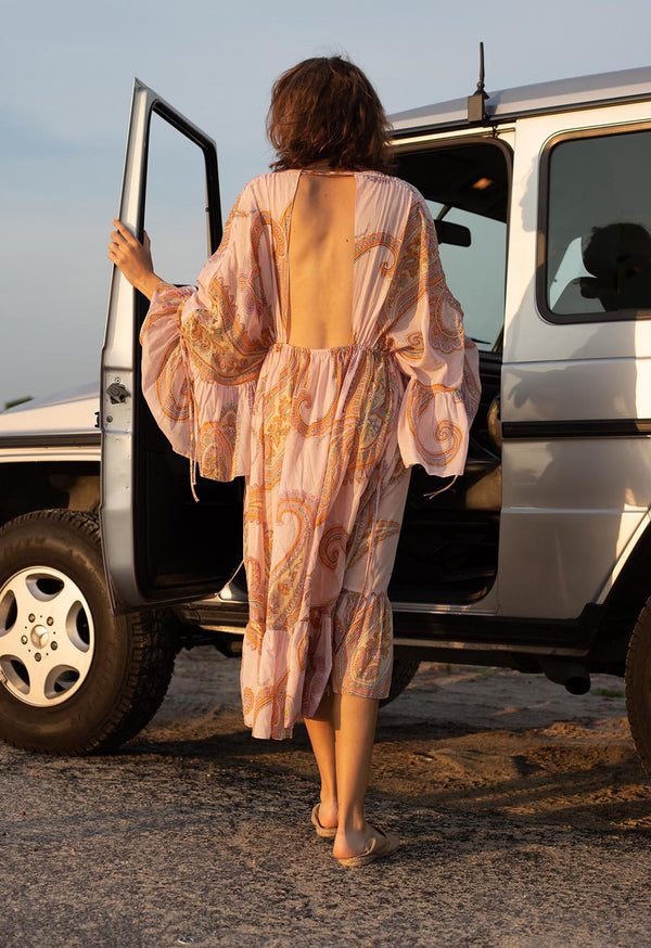 Sunrise Kaftan Dress in Pink Paisley