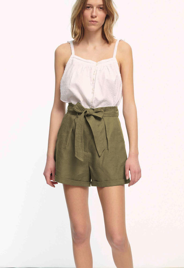 Tellin Shorts in Olive Linen