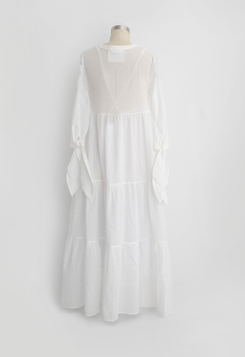 Tonino Dress in White Lace Jacquard