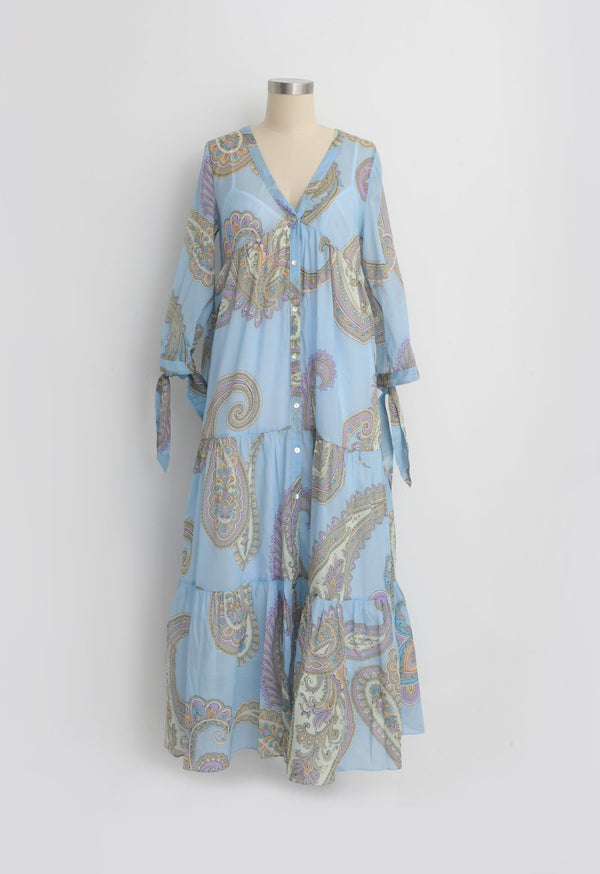 Tonino Dress in Blue Paisley