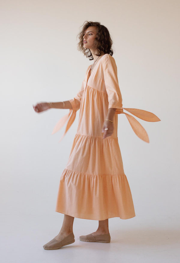 Tonino Dress in Cantaloupe Poplin