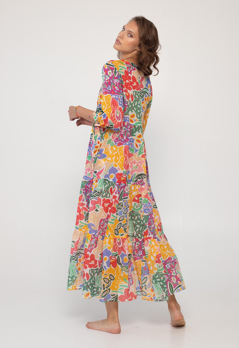 Tonino Tiered Dress in Pop Print